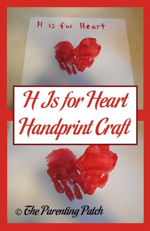 H is for heart! Help your toddler learn about the letter H by making a fun heart handprint craft. via @ParentingPatch