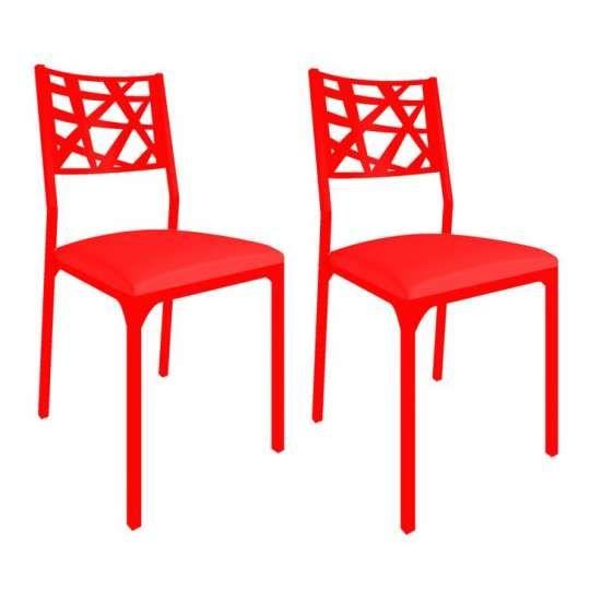 Conjunto 2 Cadeiras CM0206 Pintada Vermelho Corano Vermelho