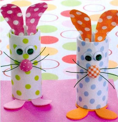 Toilet paper Roll Bunnies~ Make these with scrapbook/art paper, googly eyes, fabric button nose and felt.