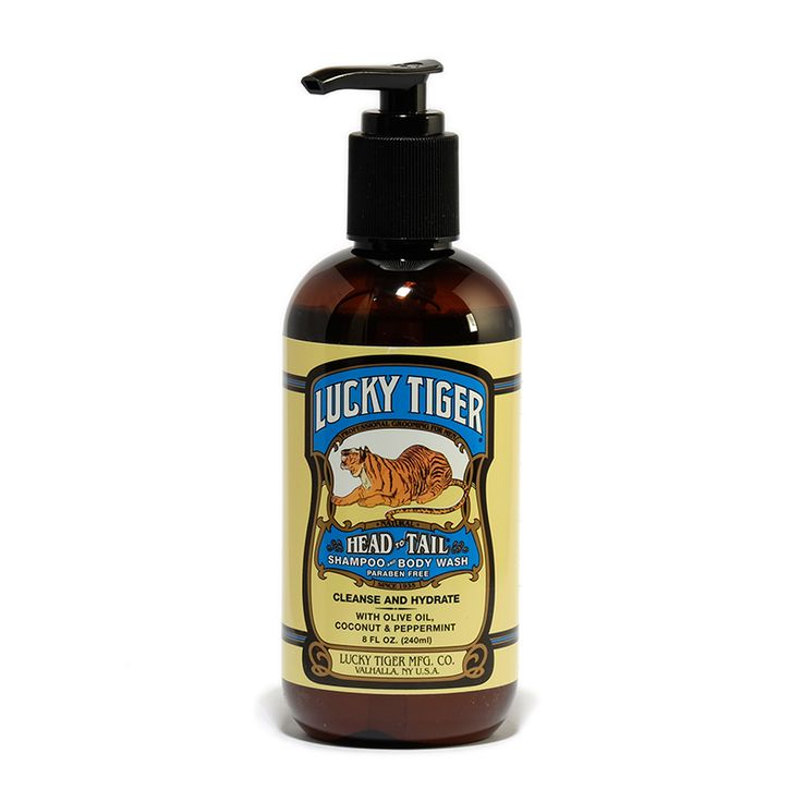 Lucky Tiger Peppermint Shampoo & Body Wash provides all-over cleansing and hydration… from the top of your head to the tips of your toes.