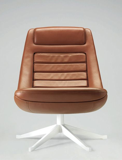 Pio Manzù; Leather and Enameled Steel 'Bucket Seat' Lounge Chair for La Rinascente, 1967.