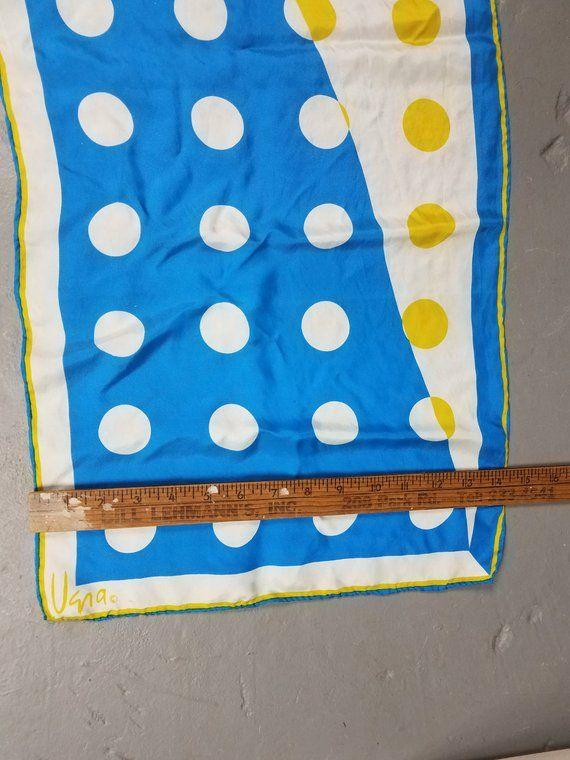 HolidaySale Vintage Vera Scarf Long Rectangular Polka Dots Japan silk blend