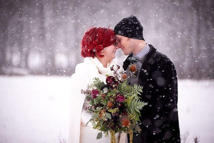 A frostbitten Canadian park elopement