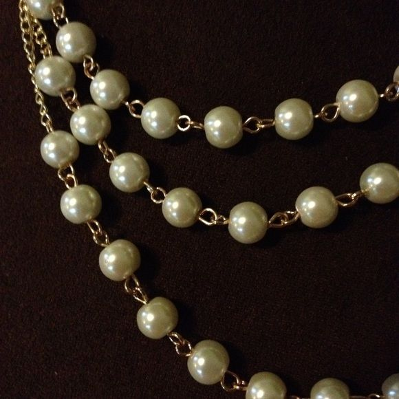 "triple strand pearl and chain necklace & earrings triple strand pearl and gold chain necklace and earring set. strands are 17, 19, and 20"" lengths with 2"" extender Jewelry Necklaces"