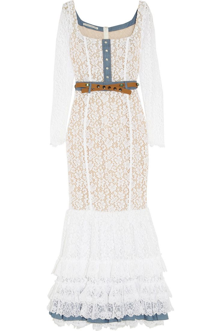 ALESSANDRA RICH Chambray-trimmed lace gown $1,044.75 http://www.theoutnet.com/products/489681
