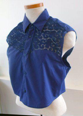 add lace yokes to a dress shirt