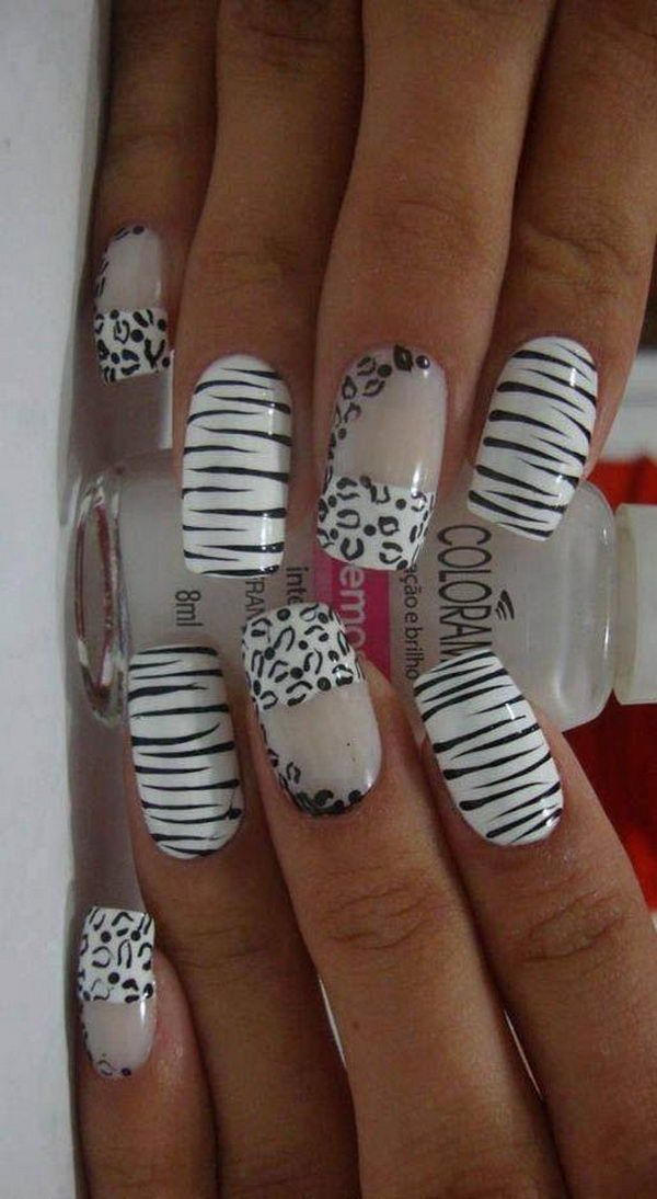 Cheetah and Zebra  Nail Designs