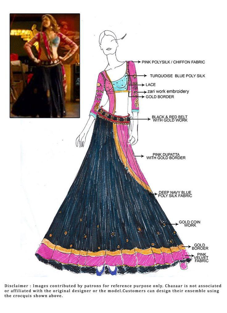 Blue and Pink lehenga worn by Deepika Padukone in Ishkeyaun Dhiskeyaun- Ram Leela