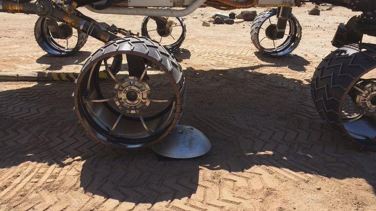 """A """"scarecrow"""" rover at NASA's JPL drives over a sensor"""