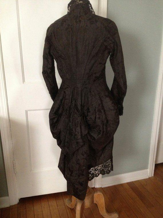 Victorian Silk Damask Jacket Bustle Black Chantilly Lace Handpainted ... 61d48d626