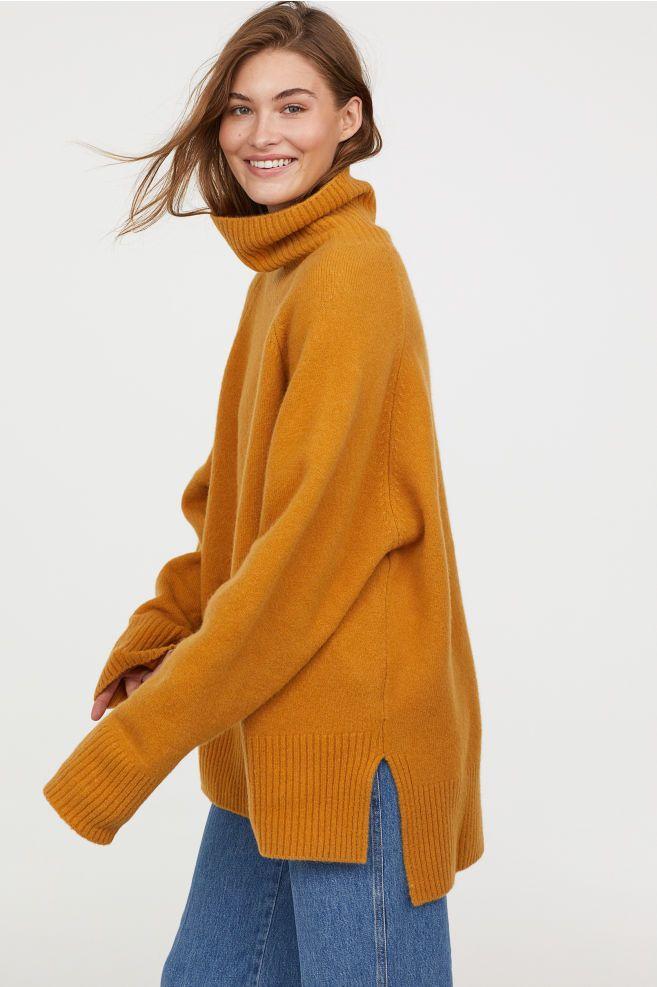 d6d5088935f77 Wool-blend Turtleneck Sweater - Mustard yellow - Ladies