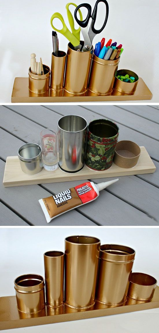 Upcycle Tin Cans For A Desk Organizer | Click Pic for 18 DIY Dorm Room Ideas for…
