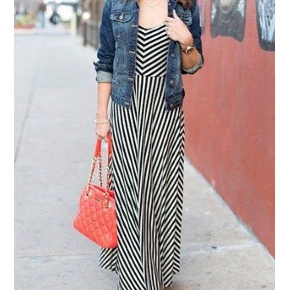 Striped Black & White Maxi Dress Montreal dress in great shape, worn once. Similar to the dress in first pic but not the same dress Monteau Dresses Maxi