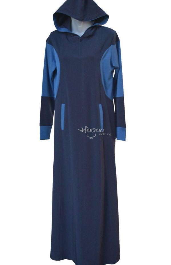 "ELLA NAVY 4"" Zip Modern Islamic Clothing Hooded Casual Sporty Abaya Jilbab"