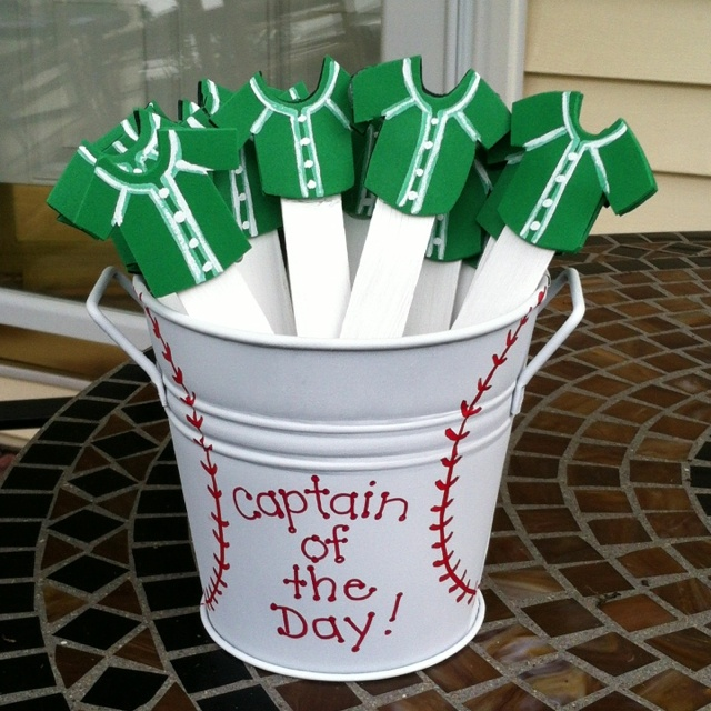 """Our school theme is teamwork. Each morning a new """"Captain of the Day"""" is chosen from these popsicle sticks. This child is the line leader, paper passer, messenger, line leader, etc. Much easier than assigning jobs to each child! Buy this product on Etsy under the shop name, """"DesignsbyDerk."""""""