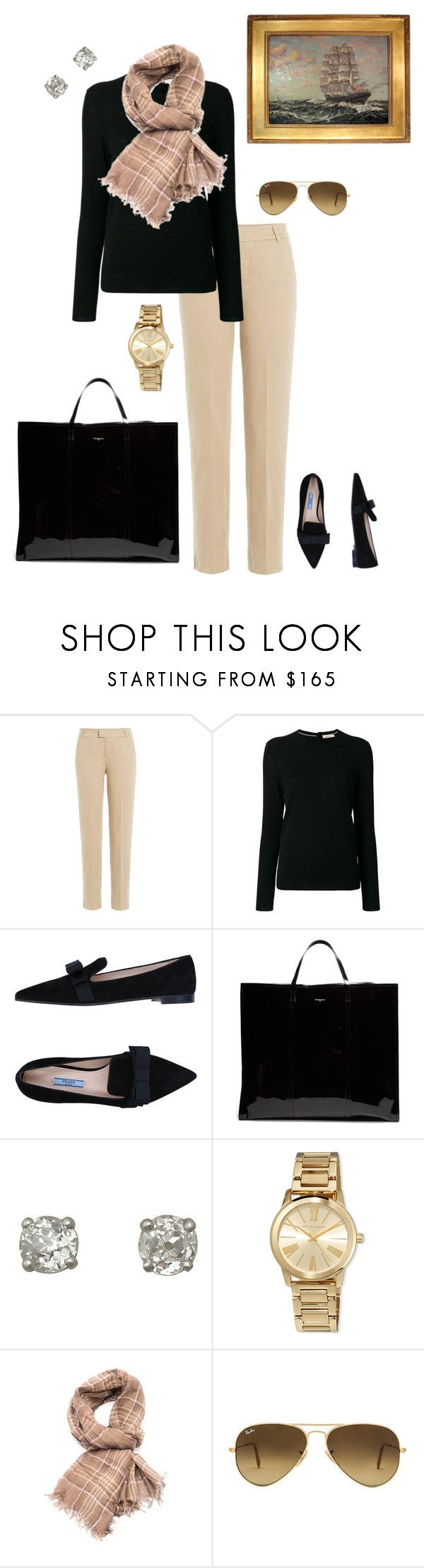 """Afternoon at the Museum"" by salemery on Polyvore featuring 7 For All Mankind, Tory Burch, Prada, Balenciaga, MICHAEL Michael Kors, Brunello Cucinelli and Ray-Ban"