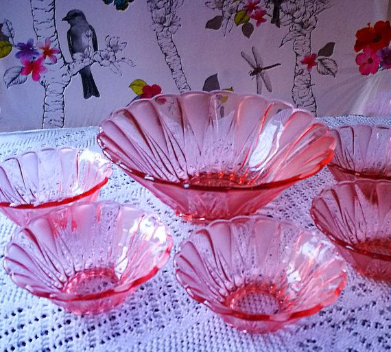 Art Deco glass dessert bowls set, frosted glass, Pink glass, 1930s pressed glass dessert, fruit, salad set of one large and 5 serving bowls.