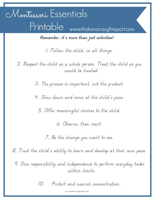 Montessori Essentials with Printable -- Montessori essentials to keep in mind, because Montessori is so much more than just activities. Its a change in perspective towards a child!