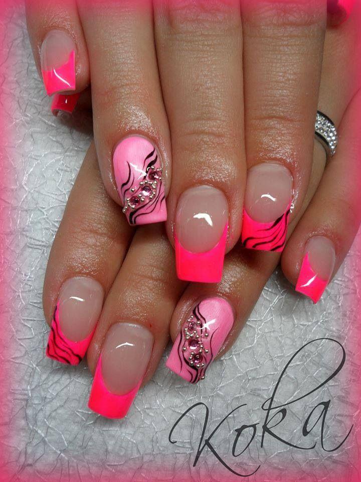 Neon Roze Schoudertas : Gel nails neon pink design