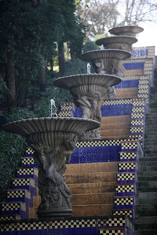 .Stairs in Montjuic, Barcelona, Spain . Over 50.000 dogs every year are tortured to death in Spain. Dogs for hunting and Galgo races (Spanish Greyhounds). Hanged, thrown alive into wells or/and burned alive.
