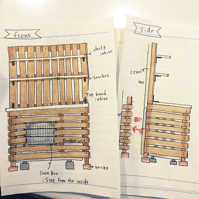 女性で、4LDKのデザイン案/イラストですが(笑)/室外機カバー/玄関/入り口についてのインテリア実例を紹介。「次は室外機のカバーを作りたくて デザイン案を描いてみた こんなのにしたいなぁー♡」(この写真は 2016-01-27 16:06:12 に共有されました)