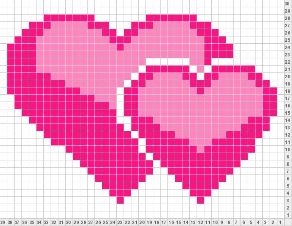 Hearts perler bead pattern