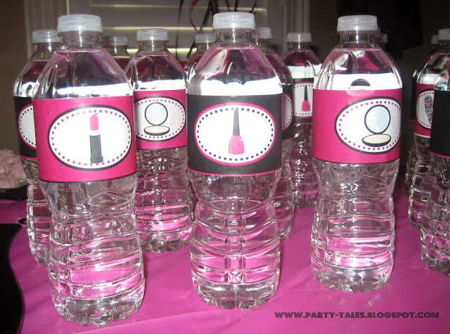 I designed these Water Bottle labels for an 11 year old girl's 'SPA themed' birthday party. I always use Online Labels for all my projects, just peel and stick. More pictures in my blog here http://www.party-tales.blogspot.ca/2012/06/birthday-party-zebra-print-and-hot-pink.html