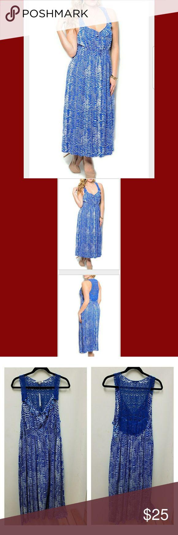 WAPI PLUS SIZE DRESS Royal White Trendy show shopping Abstract pattern crochet overlay maci dress Wapi Dresses Maxi