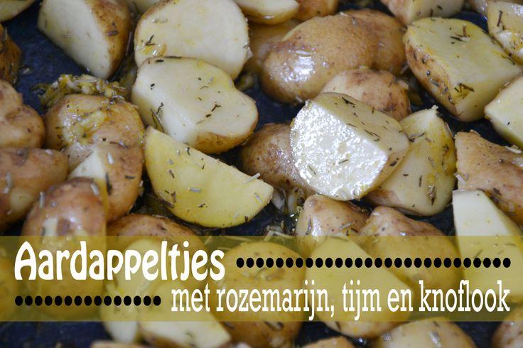 Aardappeltjes uit de oven [kruiden voor ong. 1 kg aardappeltjes: 4 tenen knoflook, 1 tl tijm, 1 tl rozemarijn, 1/2 tl kerrie, zout, peper, olijfolie. 30-40 min in de oven op 200)