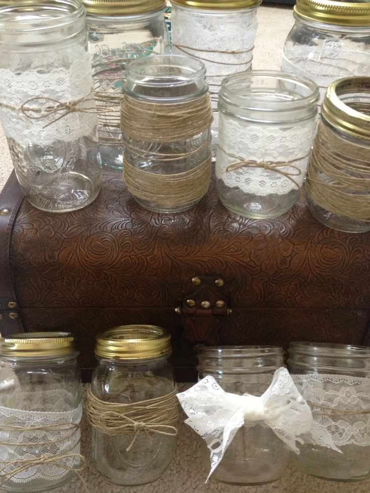 Wedding decor: mason jars with twine and lace for my summer wedding