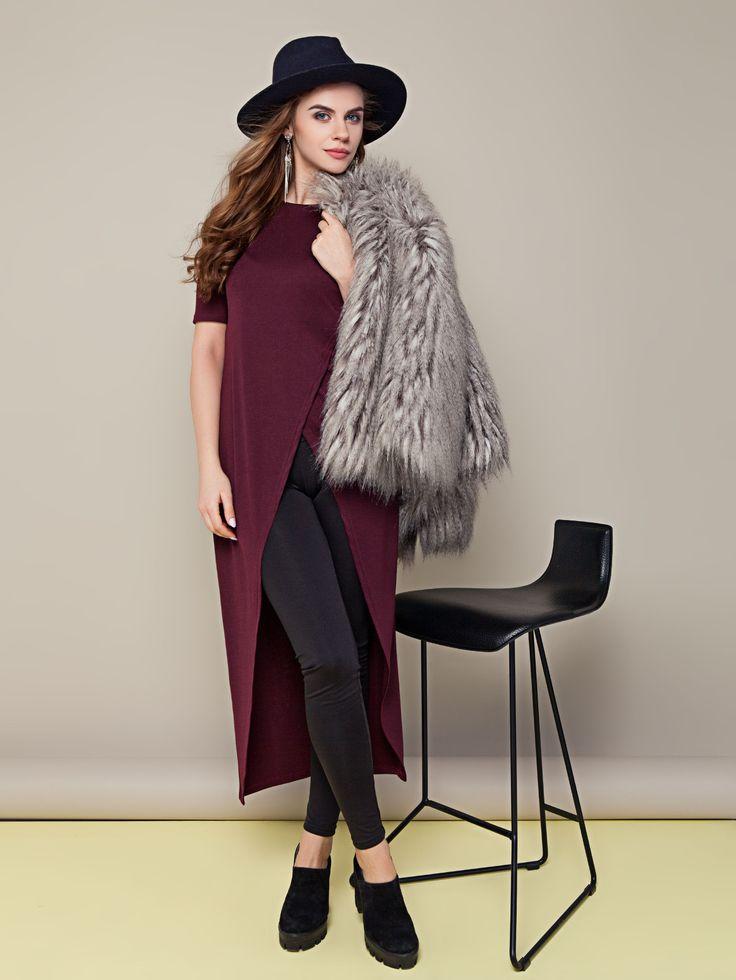 #Asymetryczna oryginalna #tunika wiśniowy - #Sarafany, tuniki | #Odzież damska THE…
