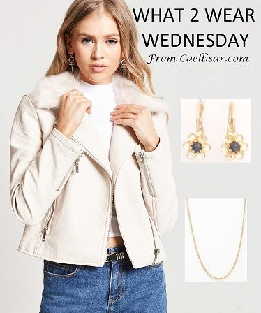 Trend: moto jacket.  Style the look with these 14k Flower Earrings with Blue Stone and 14k Yellow Gold Chain From Italy.