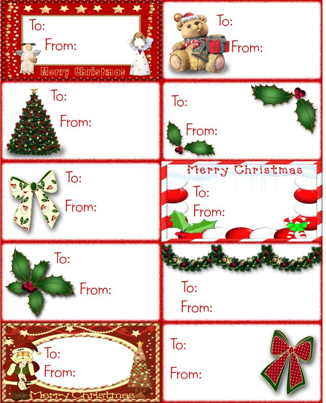 Download a page of ten unique Christmas gift tags featuring bows, frames, holly, garland, a Christmas tree, and more.