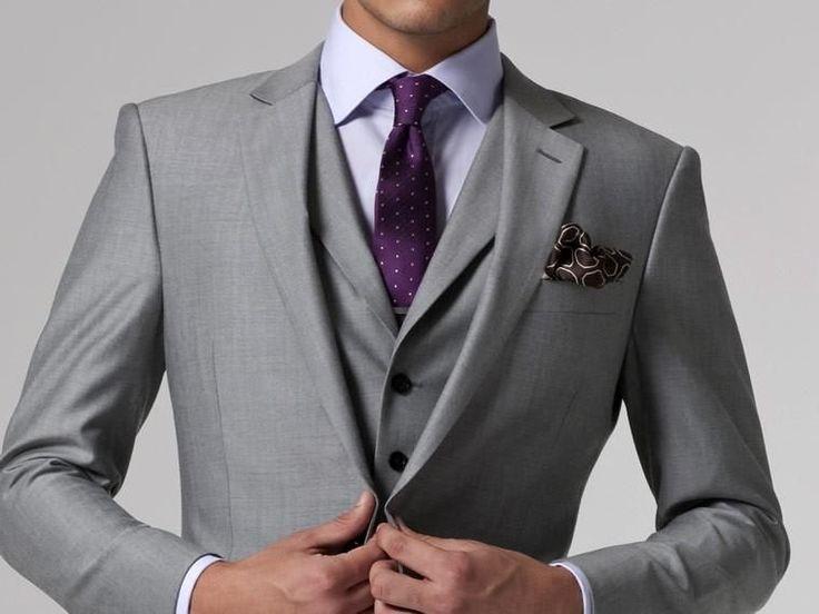 Gray Wedding Tuxedo Custom Made Grey Suits Gray Groom Suit Mens Gray Tuxedo Jacket,2017 Grey Wedding Tuxedos,3 Piece Grey Suit #WeddingIdeasForMen