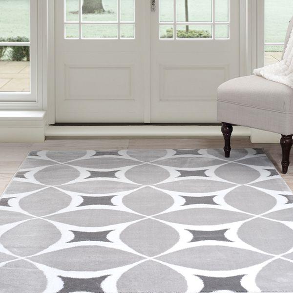 windsor home geometric area rug grey u0026 white