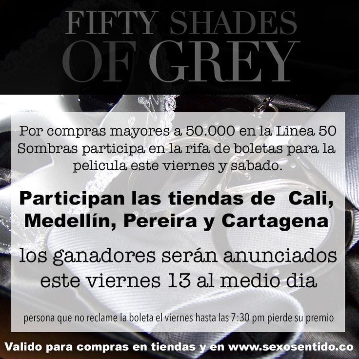 Extendemos nuestro concurso para #Cali, #Medellín, #Cartagena y #Pereira !, por compras mayores a 50.000 participa en la rifa de boletas para la película #50SombrasdeGrey , participa por compras en tiendas físicas y en http://sexosentido.co/50-sombras-de-grey.html  whatsapp: 3206748572 , linea gratuita nacional: 018000517396