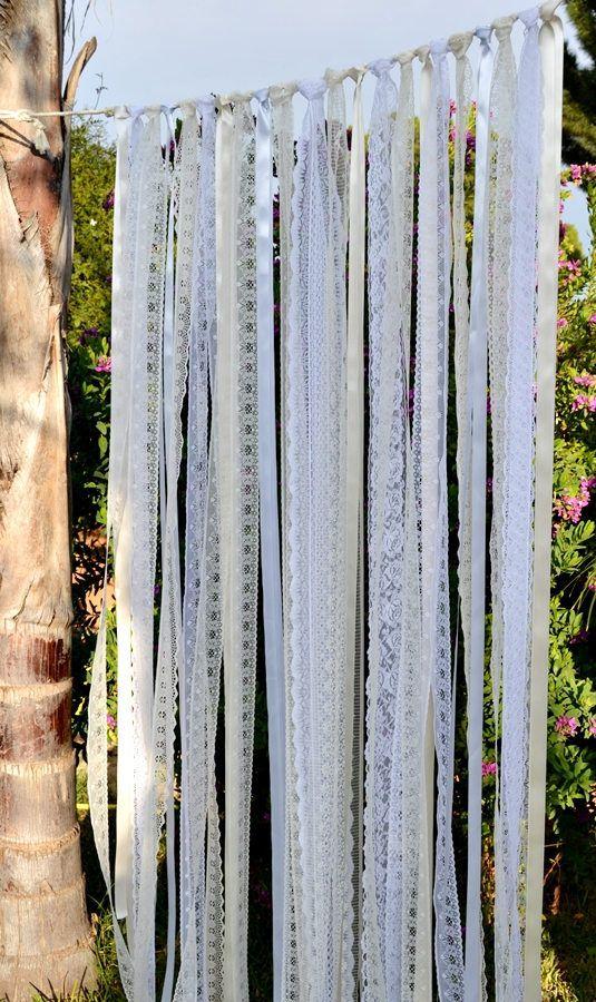 Wedding Backdrop Curtain. Ivory White Lace Ribbon Curtain.
