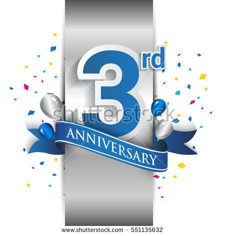 3rd anniversary logo with silver label and blue ribbon, balloons, confetti. three Years birthday Celebration Design for party, and invitation card
