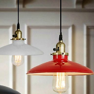 Bulb Included Pendant, 1 Light, American Style Rustic Red Metal Painting – EUR € 82.49