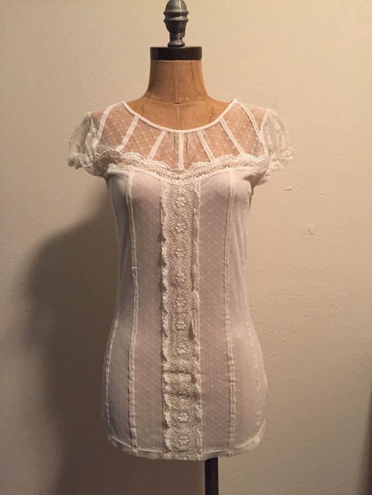 Free People White Ivory Lace Cap Sleeve Blouse M | eBay