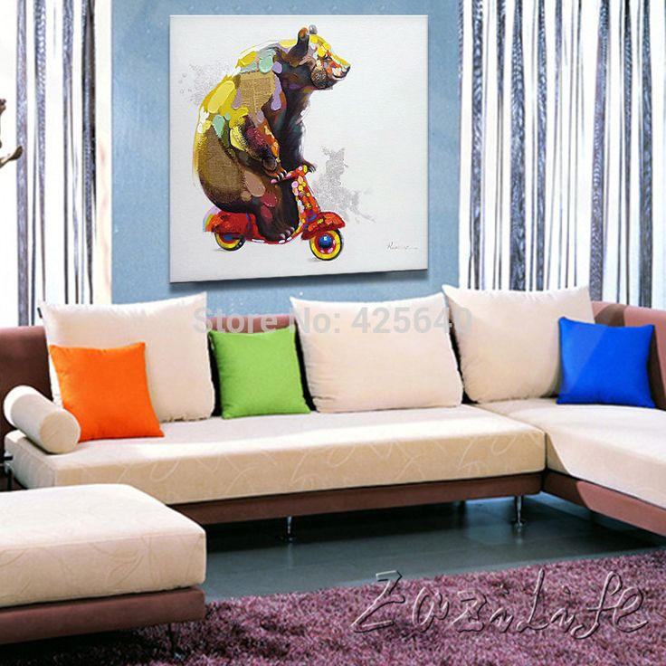 Oil Paintings On Canvas Wall Pictures For Living Room Art Pop Bear Modern Abstract Hand Painted Christmas Home Decor Sticker AliExpress