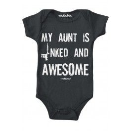 Kid's My Aunt Is Inked And Awesome Onesies T-Shirt - Black. -oh this is an absolute must. Bc, ahem ahem, his aunt is the shit.
