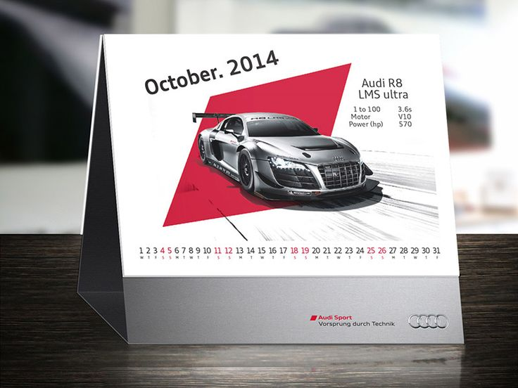 We have designed bunch of calendar concepts for Audi office in Moscow. Each intended to be made from premium quality materials with luxury finish and to be sent to Audi dealers offices along Russia. Some of them are presented here with short idea behind them. http://greatcrew.eu/work/audi