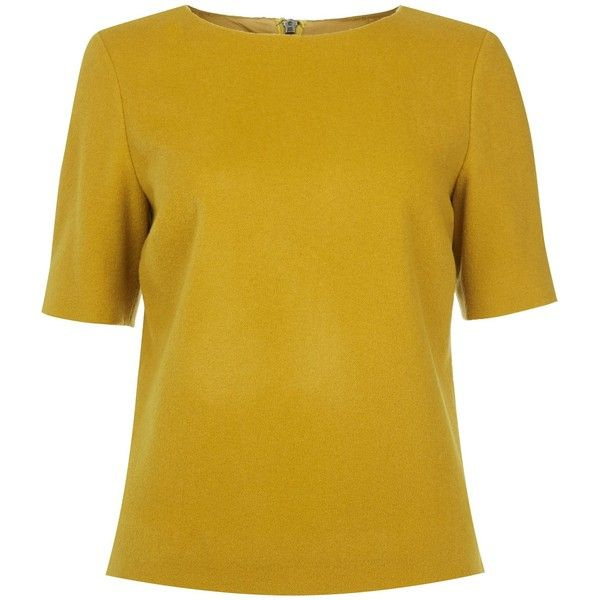 Hobbs Penny top ($66) ❤ liked on Polyvore featuring tops, shirts, mustard, mustard top, mustard yellow shirt, wool top, beige shirt and mustard shirt