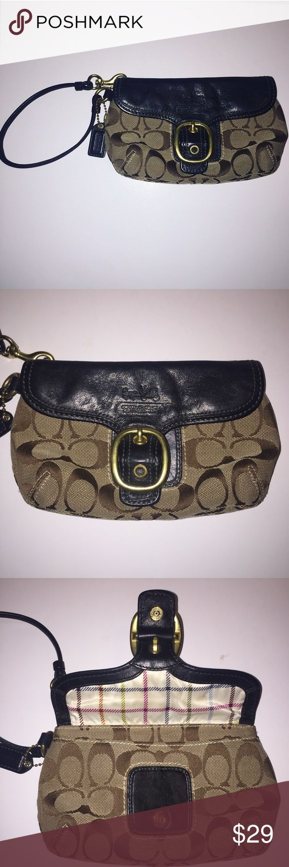 Coach Wristlet Clutch Black Leather Signature C's Coach Women's Wristlet Black leather flap and strap Signature Coach Brown C's  Front Pocket Larger Compartment with zipper Coach Bags Clutches & Wristlets