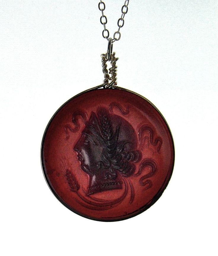 Antique Vintage Art Deco Czech Glass Necklace Pendant Silver Tone Cameo Lady #Unbranded #Pendant