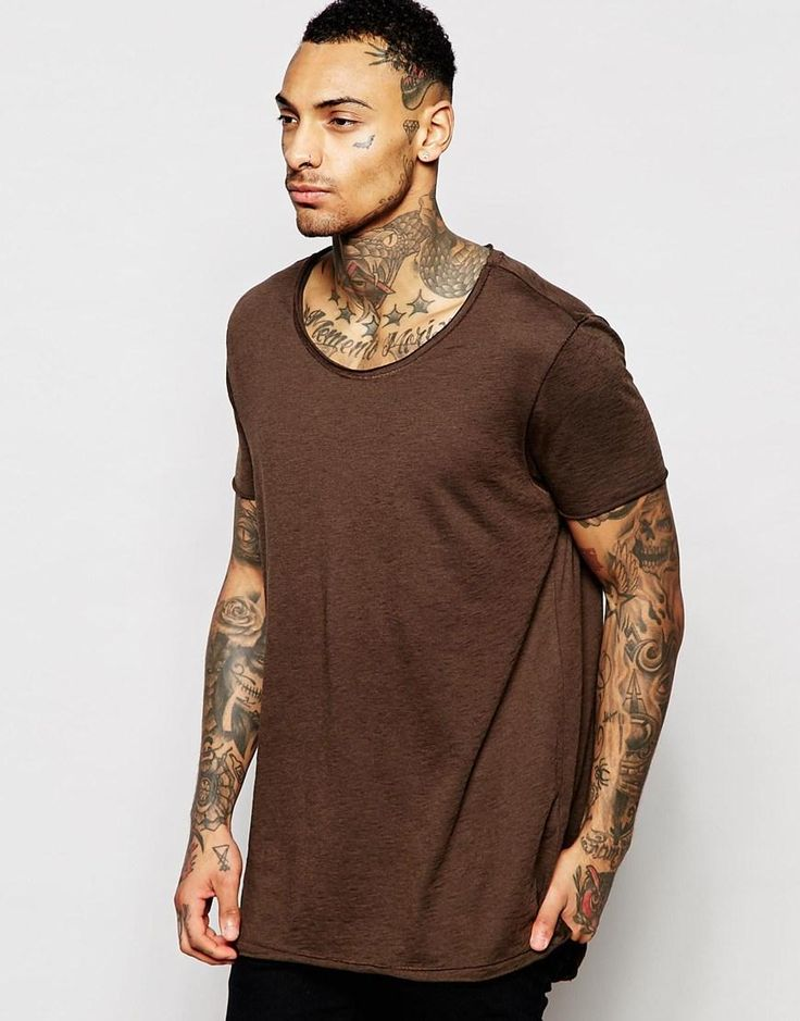 ASOS | ASOS Super Longline T-Shirt In Slubby Fabric With Raw Scoop Neck In