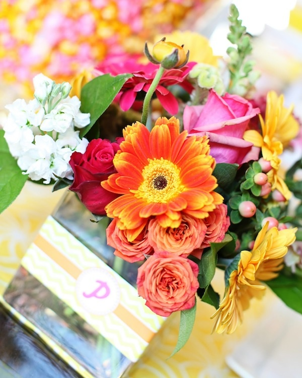 Orange,yellow,pink floral arrangement