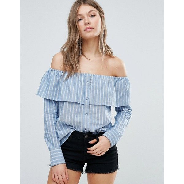 Influence Cotton Stripe Frill Bardot Top (£22) ❤ liked on Polyvore featuring tops, blue, frilly tops, flutter-sleeve top, tall tops, woven top and ruffle top