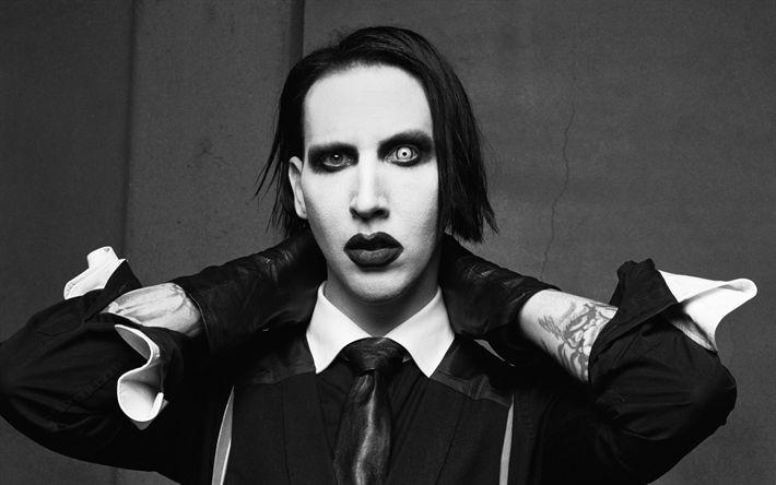 Download wallpapers Marilyn Manson, portrait, American rock band, metal, rock